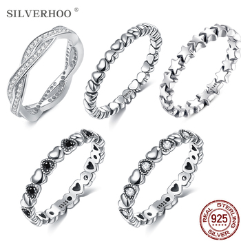 SILVERHOO 925 Sterling Silver Rings For Women Stackable Finger Ring Multi-Style Fine Jewelry Recommend Cute Gift To Girlfriend - discount item  50% OFF Fine Jewelry