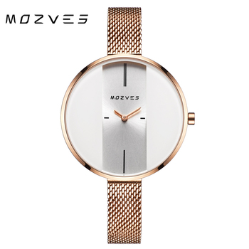MOZVES women watches wristwatch top brand luxury waterproof rose gold woman watches gift for friend