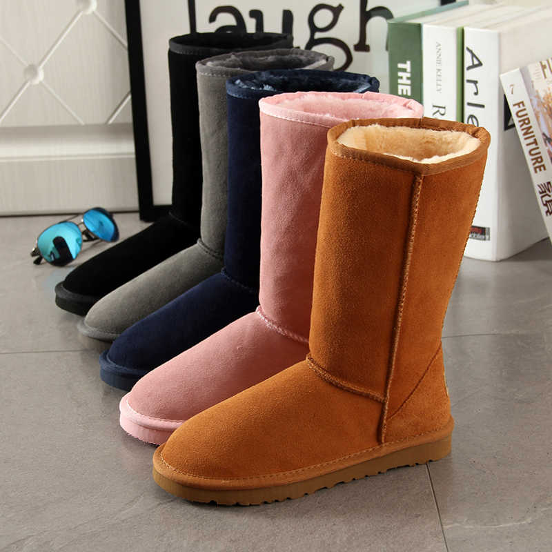 Cowhide Genuine Suede Leather Female Winter Furry Australian Boots with Faux Fur Plush Snow Boots for Women tall Australia Shoes