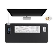 Kingfom рабочий стол коврик Коврик протектор беспроводной зарядки искусственная кожа ноутбук с клавиатурой и мышью для iPhone/Samsung