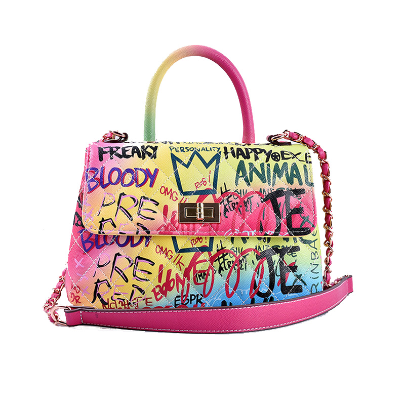 Graffiti Printed Designer Handbags For Women 2019 Luxury Handbags Women Bags Designer Shoulder Bag Rainbow Travel Messenger Bags