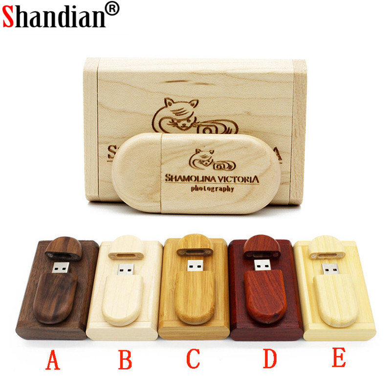 SHANDIAN Customize LOGO Wooden + Box Personal LOGO Pendrive 4GB 16GB 32GB 64GB  Usb Flash Drive U Disk Memory Stick Wedding Gift