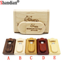 SHANDIAN Customize LOGO wooden + Box Personal LOGO pendrive 4GB 16GB 32GB 64GB  usb Flash Drive U disk Memory stick wedding Gift