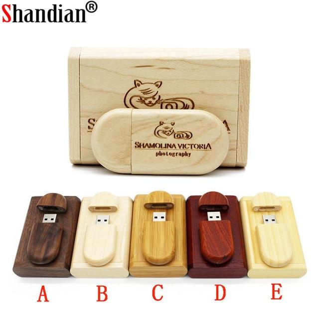 SHANDIAN Personalizza Il LOGO di legno + Box Personale LOGO pendrive 4GB 16GB 32GB 64GB usb Flash Drive memory stick U disk Regalo di nozze