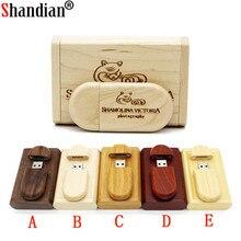 SHANDIAN индивидуальный логотип деревянный + коробка персональный флэш накопитель с логотипом 4 ГБ 16 ГБ 32 ГБ 64 Гб usb флеш накопитель U диск карта памяти свадебный подарок