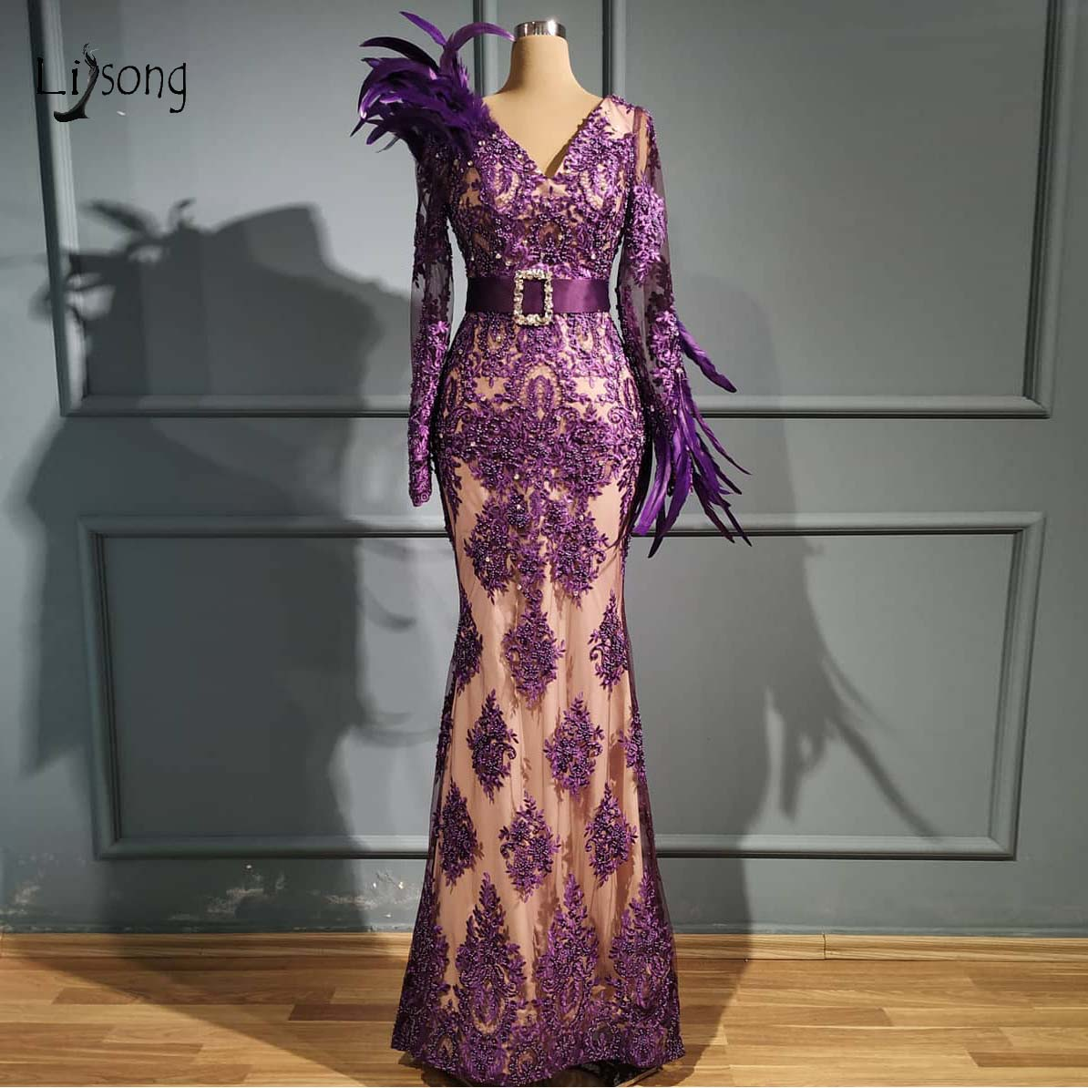 Real Image Vintage Purple Lace Mermaid Evening Dresses 2020 Beaded Crystal Long Prom Gowns Elegant Feather Formal Party Dress