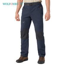 Wolfonroad ao ar livre calças de inverno dos homens lã caminhadas acampamento softshell viajar calças trekking calças à prova dwaterproof água