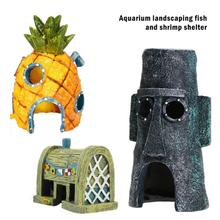 Desenhos animados decoração do tanque de peixes figuras ornamentos simulação resina abacaxi casa tanque de peixes decoração paisagismo acessórios do aquário