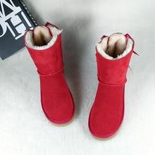 цена на Dumoo Brand Winter Snow Boots Women Bow Genuine Suede Leather Lady Classic Boots Warm Wool Fur Botas Shoes Women Plus Size 45