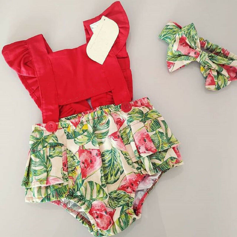 UK Seller Newborn Kid Baby Girls Floral Romper Bodysuit Headband 2pcs Outfit Set