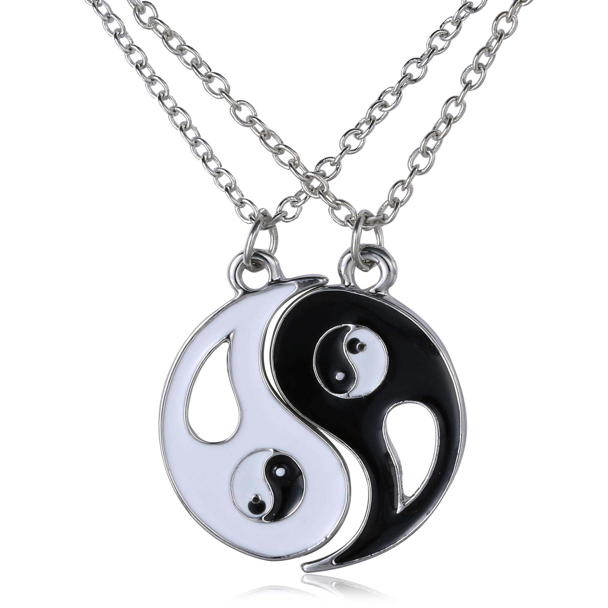 2 P Yin Yang Colar de Pingente Preto Branco Casal Irmã Amigo Amizade Jóias Presentes Personalizados Exclusivos