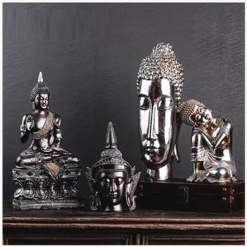 Thai Zen Buddha Figurine Statue Buddha Head Decoration Creative Resin Crafts Home Decoration Restaurant R3686