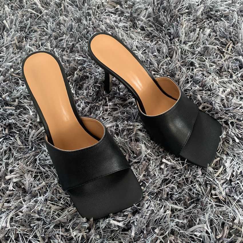 2020 nowe letnie sandały damskie kwadratowe Toe damskie obcasy muły Sexy buty na cienkich wysokich obcasach sandały pantofle damskie modne damskie buty