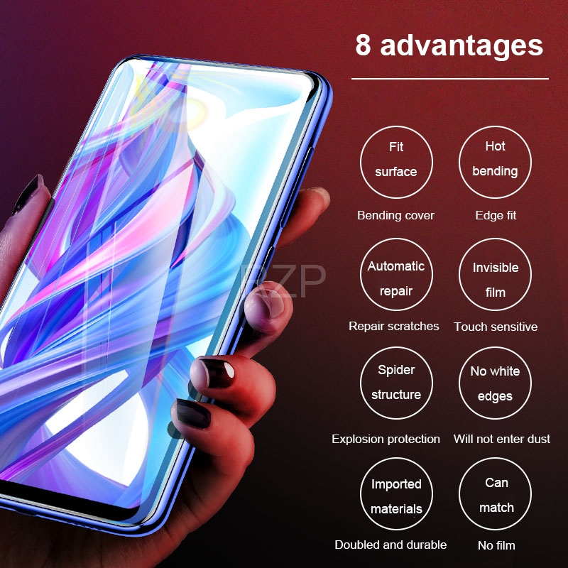 Image 4 - RZP Full Cover Screen Protector For Huawei Honor 9X Pro 9i 10 lite 20 Pro V20 20i Hydrogel Film For Honor 10 9 lite TPU PET Film-in Phone Screen Protectors from Cellphones & Telecommunications
