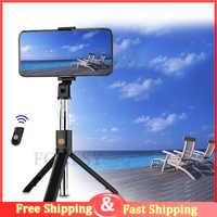 FGCLSY 3 en 1 sans fil Bluetooth Selfie bâton pliable monopode de poche avec obturateur à distance extensible Mini trépied pour iPhone XR