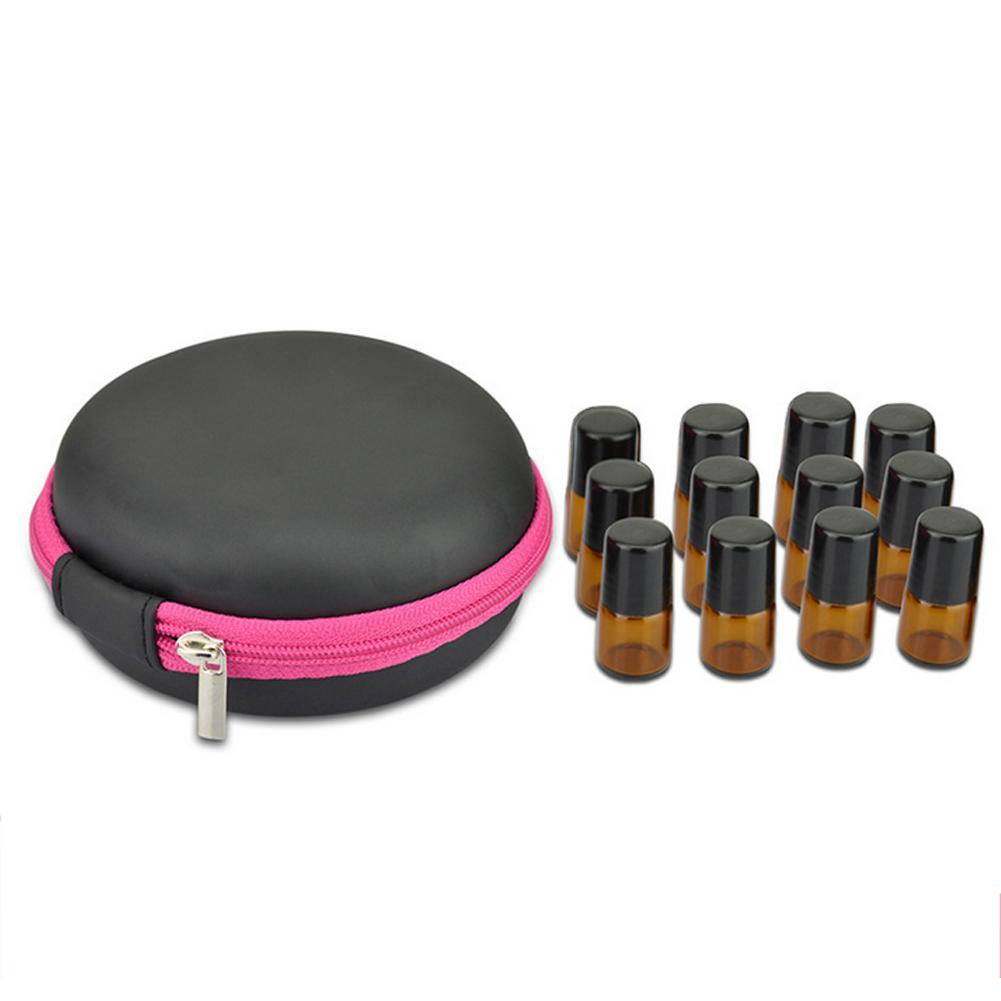 12 compartimentos redondos saco de armazenamento de óleo essencial mini 1ml 2ml suporte de garrafa de óleo essencial viagem armazenamento de aromaterapia estojo