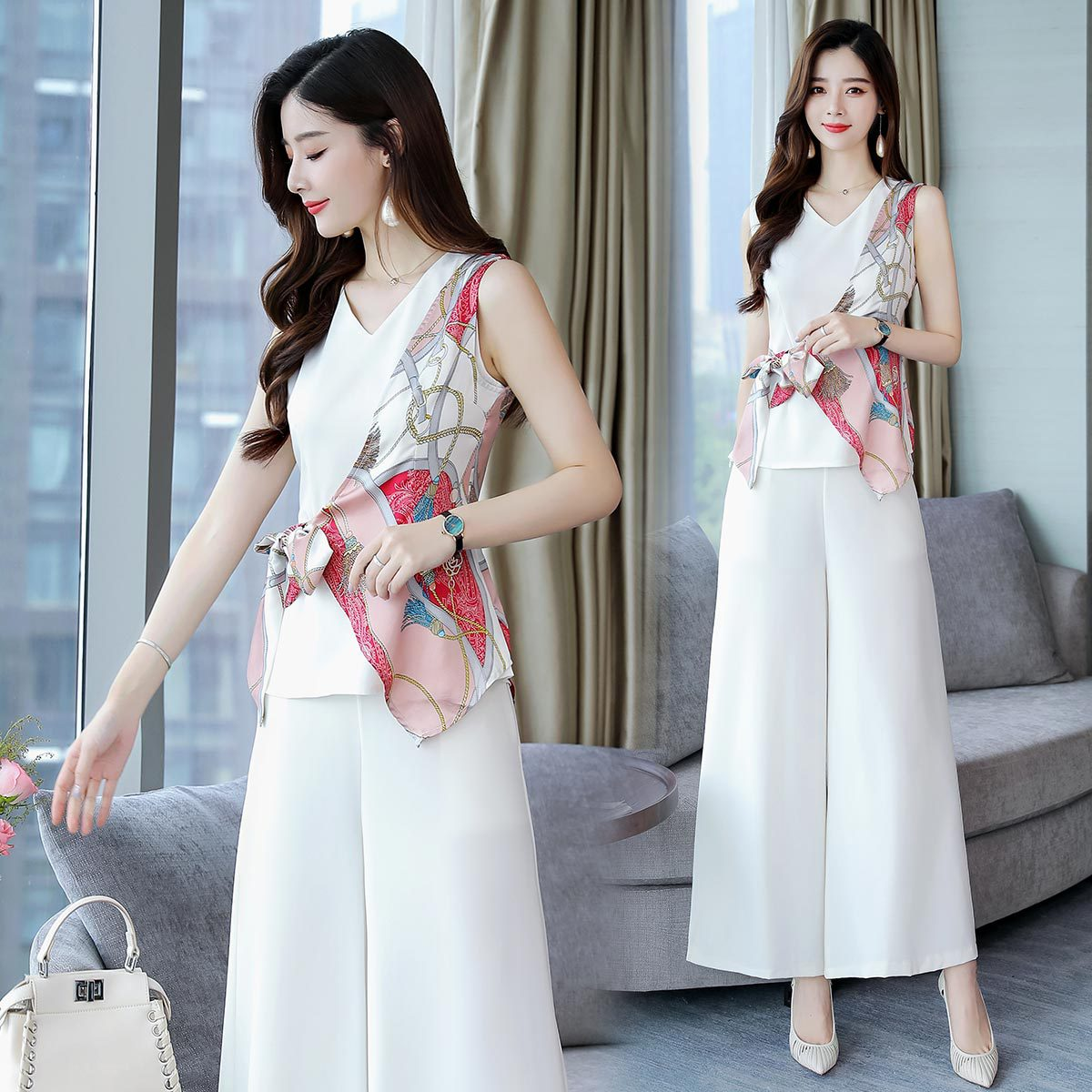 Chiffon Loose Pants Fashion Set 2019 Summer New Style Korean-style Western Style By Age Slimming Elegant Two-Piece Pants