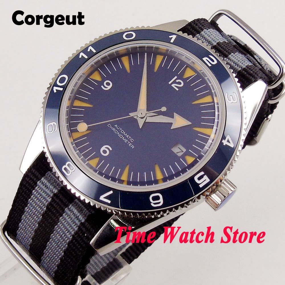 41mm corgeut Miyota 8215 5ATM men's watch blue dial Sapphire Glass luminous ceramic bezel Automatic wrist watch men Cor1