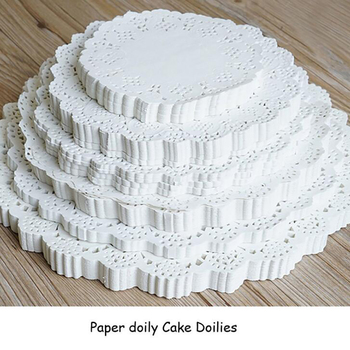 3.5/4.5/5.5/6.5/7.5/8.5/9.5/10.5 Inch 100pcs Round Party Lace Cake Place Mat Baking paper pad Food Paper Pad image
