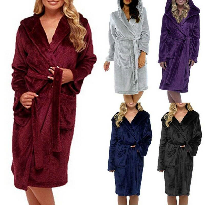 Women Lady Dressing Gown Hooded Soft Fleece Fluffy Warm Bath Robe Nightwear Gown Robes Plus Size