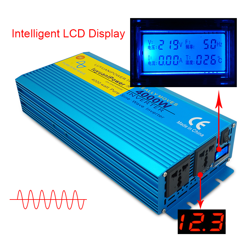 4000W DC 12V 24V To AC 110V 220V Digital screen pure sine wave inverter  CAMPING BOAT Converter With LCD Display 2 AC OUT