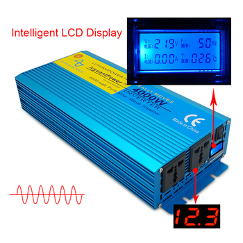 цена на 4000W DC 12V/24V To AC 110V/220V Digital screen pure sine wave inverter  CAMPING BOAT Converter With LCD Display 2 AC OUT