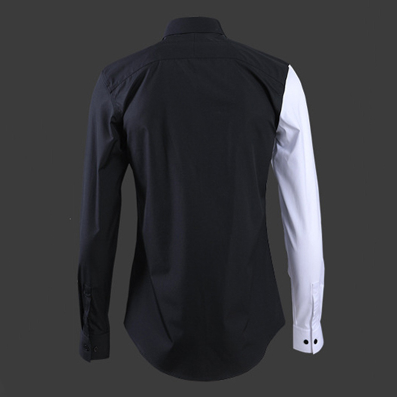 Neue farbe passenden männer der hemd stickerei Schwarz Rot Bee mode hohe qualität mann langarm shirt Europäischen Amerikanischen stil tops - 2