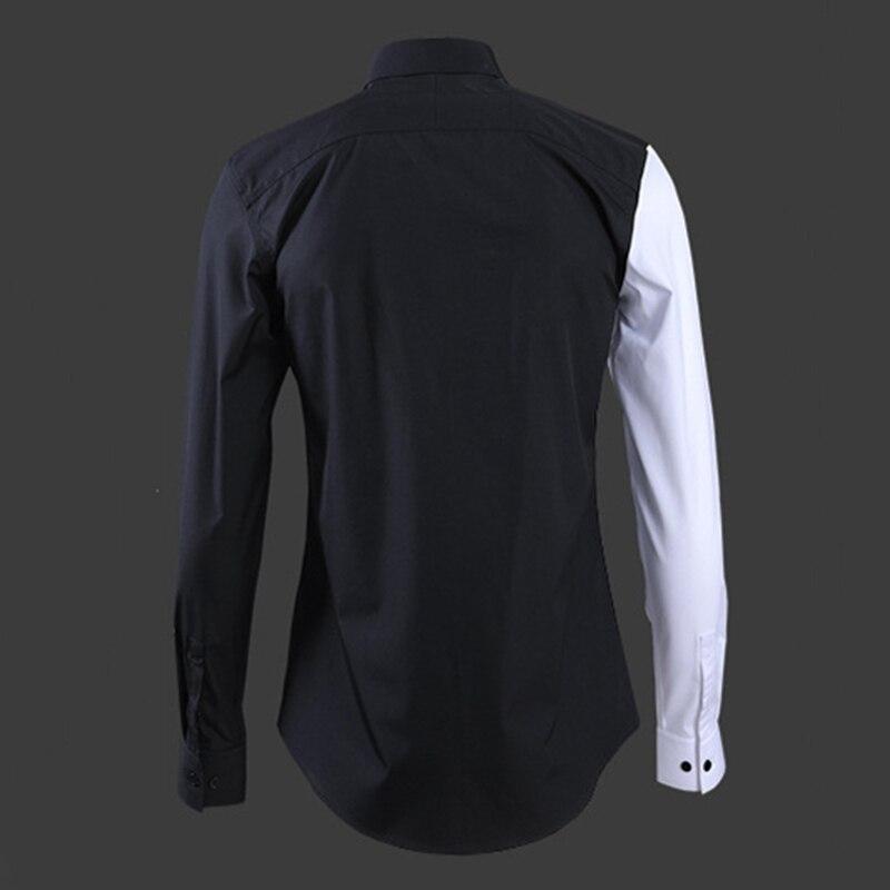 Nieuwe kleur bijpassende mannen shirt borduren Zwart Rood Bee fashion hoge kwaliteit man lange mouw Europese Amerikaanse stijl tops - 2