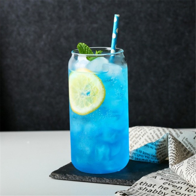 Glass Mug Cola Can Shaped Glass Mug Cold Drink Cup Cafe Beverage Juice Milk Cup Heat