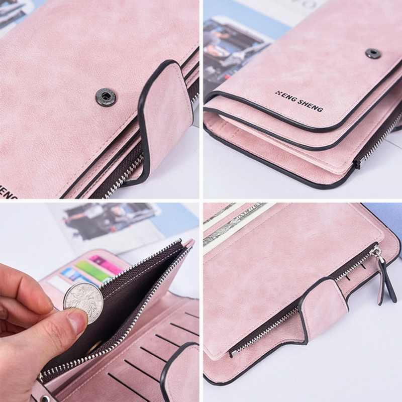 Monerffi carteira longa de couro macio das mulheres bolsa de embreagem de cartão de crédito carteira feminina fosco bolsa de cartão fivela multi-função carteira