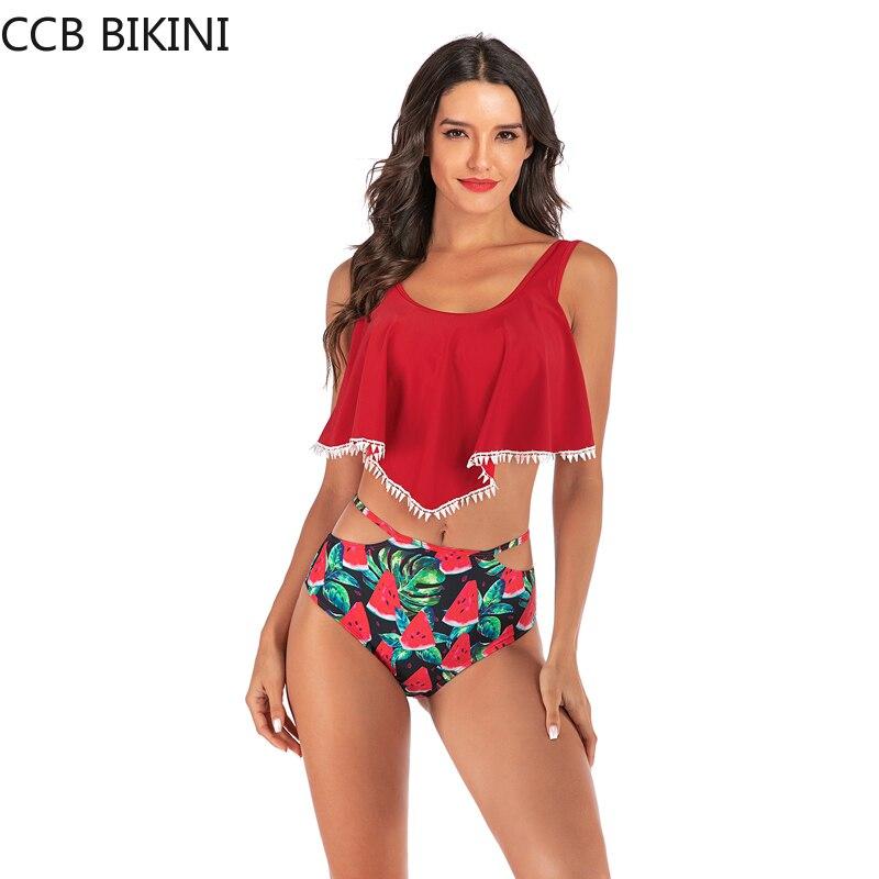 Ruffle Bikini Watermelon Swimsuit Print High Leg Swimwear Summer Beach Bikinis Set Female Two-piece Suits Red Pink Swimming Suit
