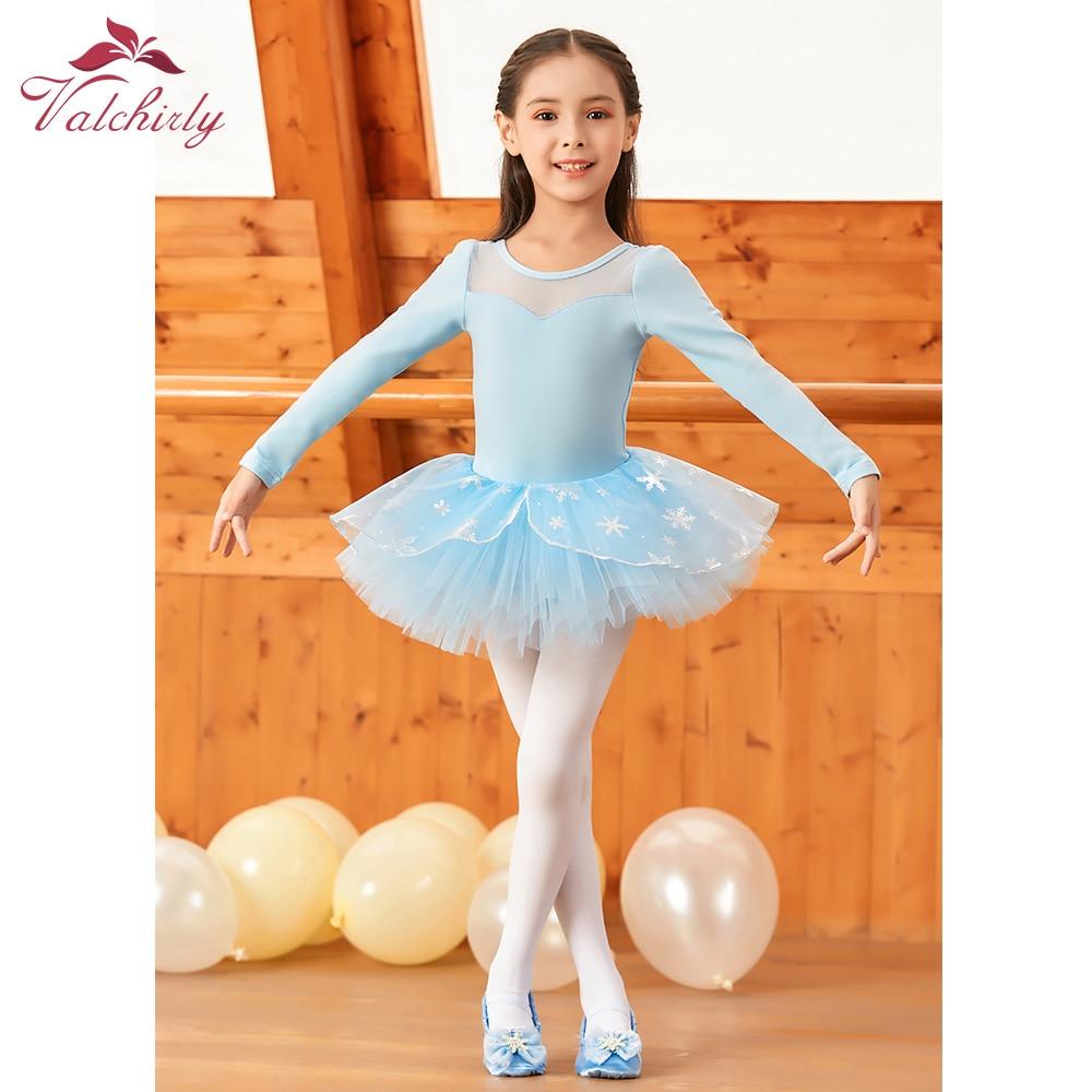Long Sleeves Girls Ballet Dress Cotton Leotard Dance Wear Costume Kids Ballerina Dress