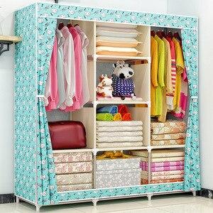 Image 4 - Armoire en tissu COSTWAY pour vêtements tissu pliant Portable placard armoire de rangement chambre meubles de maison armario ropero muebles
