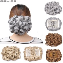 Hair-Bun Elastic Cover Chignon Updo Curly Synthetic-Gray Women's with Net Delice Two