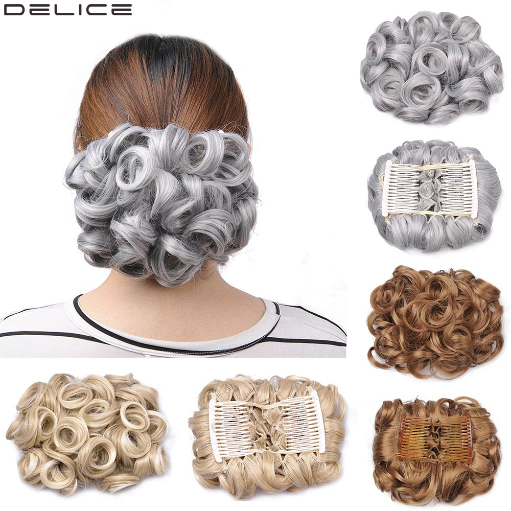 Delice Women's Curly Elegant Chignon Synthetic Gray Elastic Net Hair Bun With Two Plastic Combs Updo Cover Wedding Hair Piece image