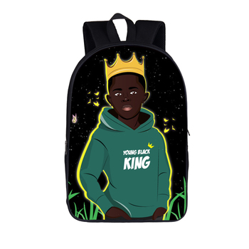 16 inch Afro Black Art Boy School Backpack for Teenagers