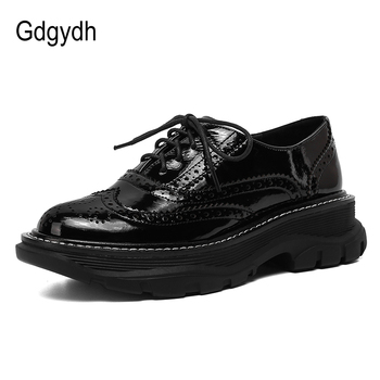 casual british style vintage thick soles platform shoes retro female harajuku lace up flat leather shoes college woven creepers Gdgydh Retro British Style Leather Shoes Women Platform Runk Gothic Shoes Flat Casual Sneakers Women Lace Up High Quality