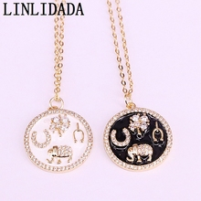 10Pcs Fashion Women Jewelry Micro Pave CZ Metal Enamel Round Charm Pendant Link Chain Necklaces
