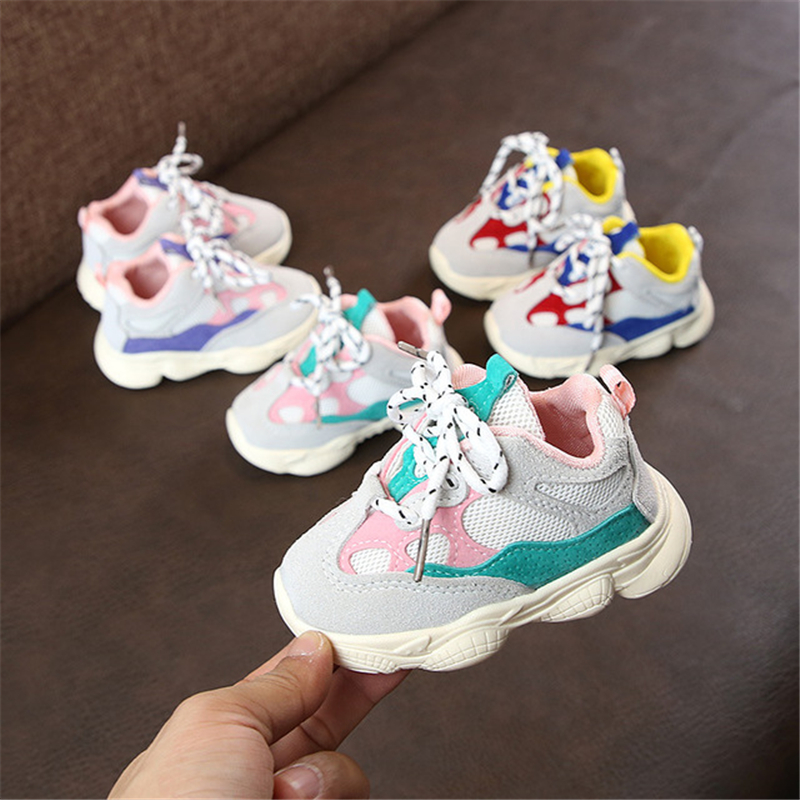 Autumn 1 year baby girl shoes infant boy toddler casual running shoes soft bottom comfortable stitching color children sneaker