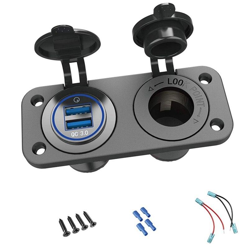 Qc 3,0 Usb Мощность со штыревой частью соединения 12V / 24V, быстрая зарядка 3,0 автомобиль Зарядное устройство розетка Водонепроницаемый прикурива...