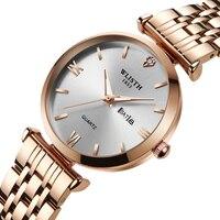 WLISTH 2019 Women Watches Fashion Casual woman Top Brand Luxury Ladies Wrist Watch womens Golden Silver Steel Female Clock