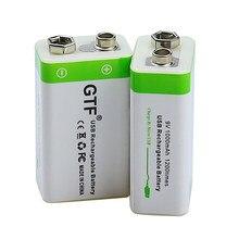 Gtf novo 9 v 1000mah bateria de carga usb li-ion bateria recarregável micro 9 v usb para multímetro microfone brinquedo controle remoto ktv