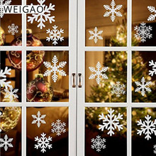 WEIGAO 27pcs White Snowflake Window Sticker Christmas Wall Stickers Frozen Snow Decals Christmas Decorations for Home Navidad