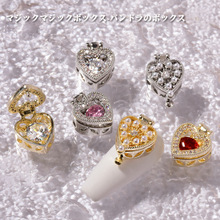 Manicure Jewelry Nail-Accessories Zircon Moonlight Luxury Heart-Shaped Gold-Plated Love