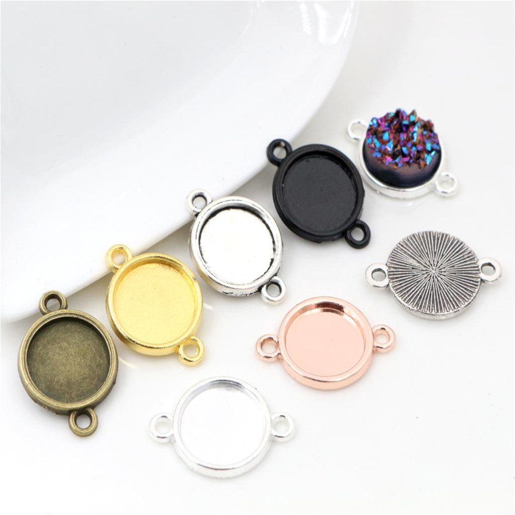 20-50pcs/Lot 8mm 10 Mm 12mm Inner Size Classic 7 Colors Plated One Sided Double Hanging Cabochon Base Setting Charms Pendant