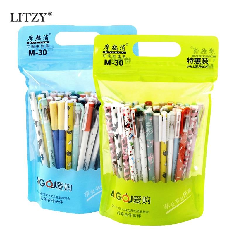 20/40/50Pcs/lot 0.5mm Erasable Pen Cute Animal Black Blue Ink Erasable Gel Pen Set School Office Writing Tools Stationery Supply