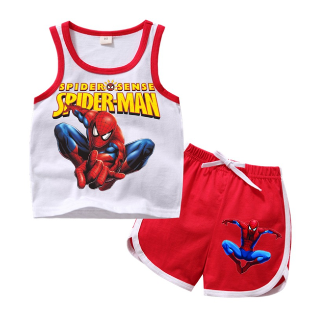 Summer children Spiderman clothing sets toddler girls clothing sets top+pant 2Pcs/sets kids casual boys clothes sport suits