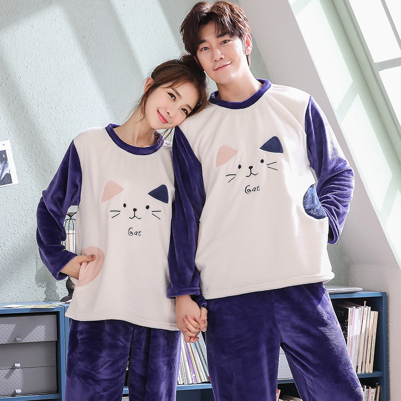 Lovely Cat Pajamas For Couple Adult Unisex Pajamas Set Flannel Warm Cartoon Pajamas Set Winter 2 Piece Sleepwear Thicken Pyjamas