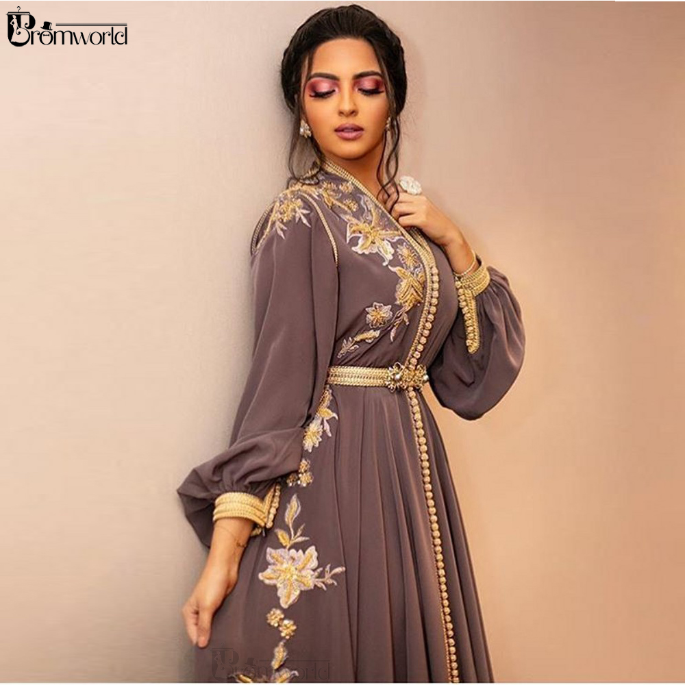 Moroccan Dubai Kaftan Lace Evening Dresses 2020 Embroidery Appliques Long Formal Dress Full Sleeve Arabic Muslim Party Gowns