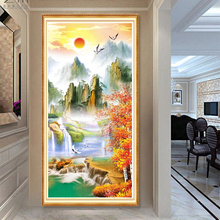Youran Diamond Painting Cross Stitch Mountain Fall Landscape Vertical Home Decorative DIY Mosaic Craft Full Square /Round Beads